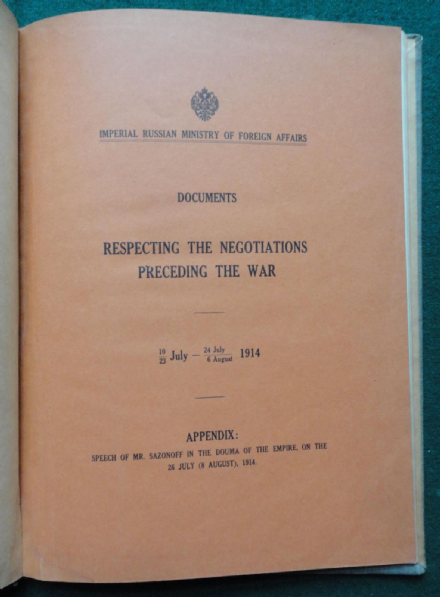 Imperial Russian Embassy Gift to USA of Book Respecting World War I Negotiations